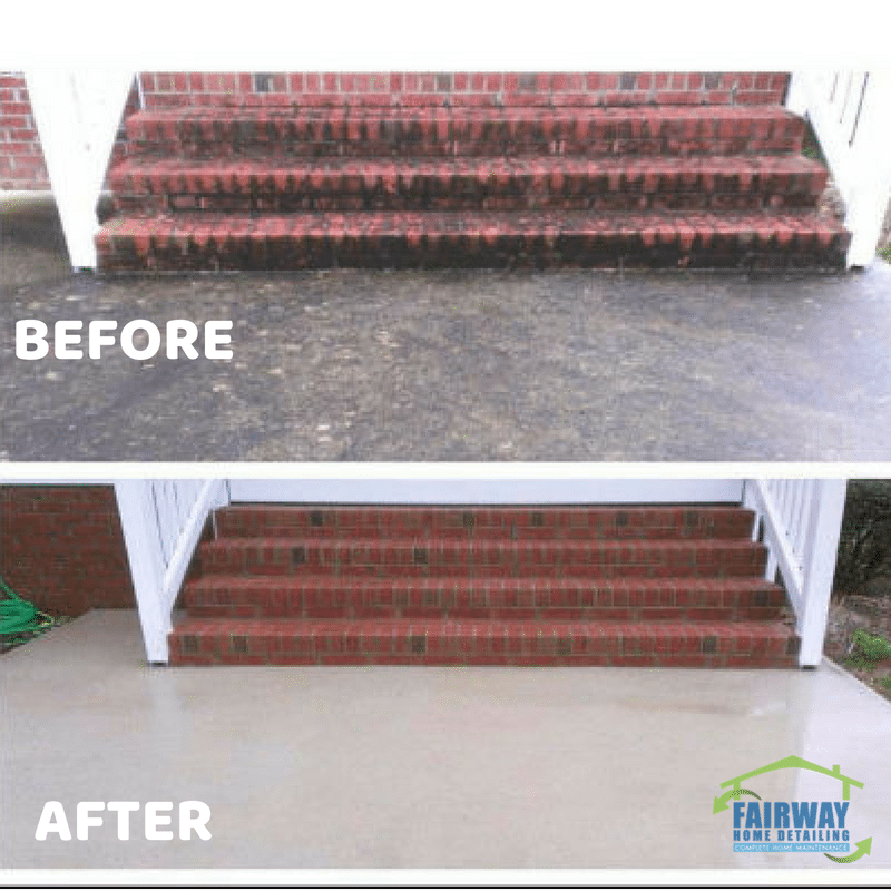 Pressure Washing Steps & Concrete-Before and After